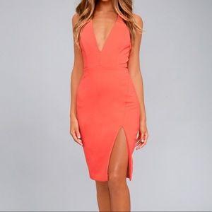 Lulu's coral midi dress NWT